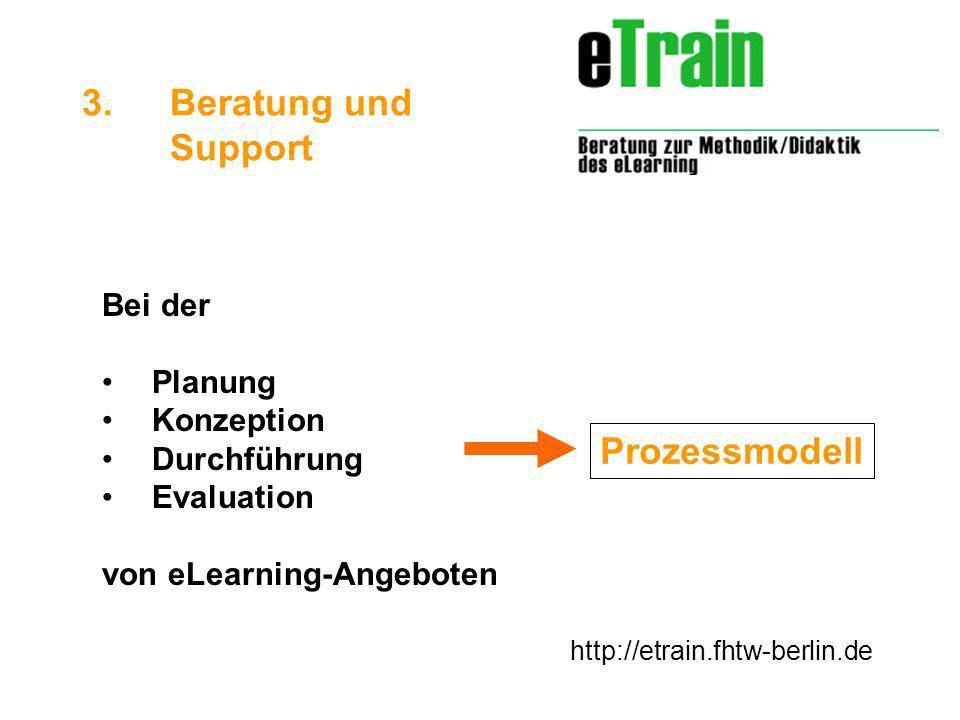 http://etrain.fhtw-berlin.de Bei der Planung Konzeption Durchführung Evaluation von eLearning-Angeboten 3.Beratung und Support Prozessmodell