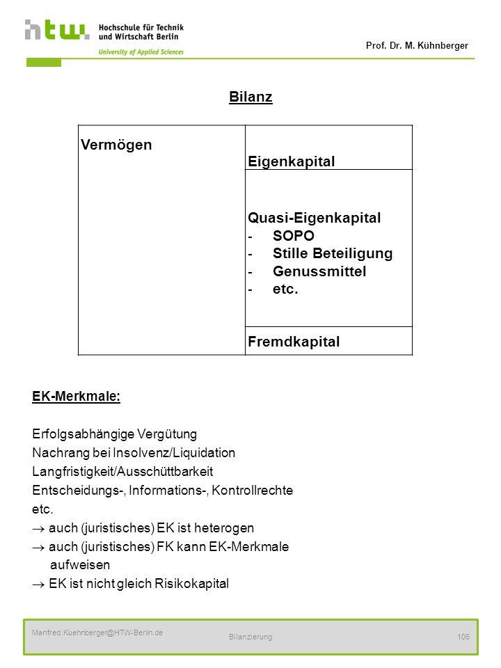 Prof. Dr. M. Kühnberger Manfred.Kuehnberger@HTW-Berlin.de Bilanzierung106 Bilanz EK-Merkmale: Erfolgsabhängige Vergütung Nachrang bei Insolvenz/Liquid