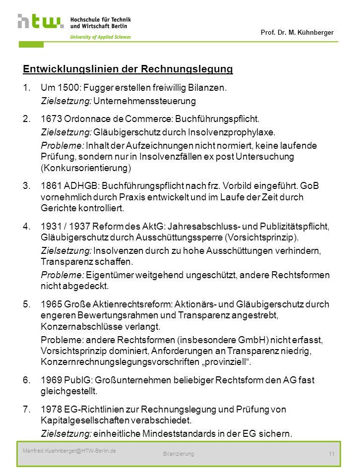 Prof. Dr. M. Kühnberger Manfred.Kuehnberger@HTW-Berlin.de Bilanzierung11 Entwicklungslinien der Rechnungslegung 1.Um 1500: Fugger erstellen freiwillig