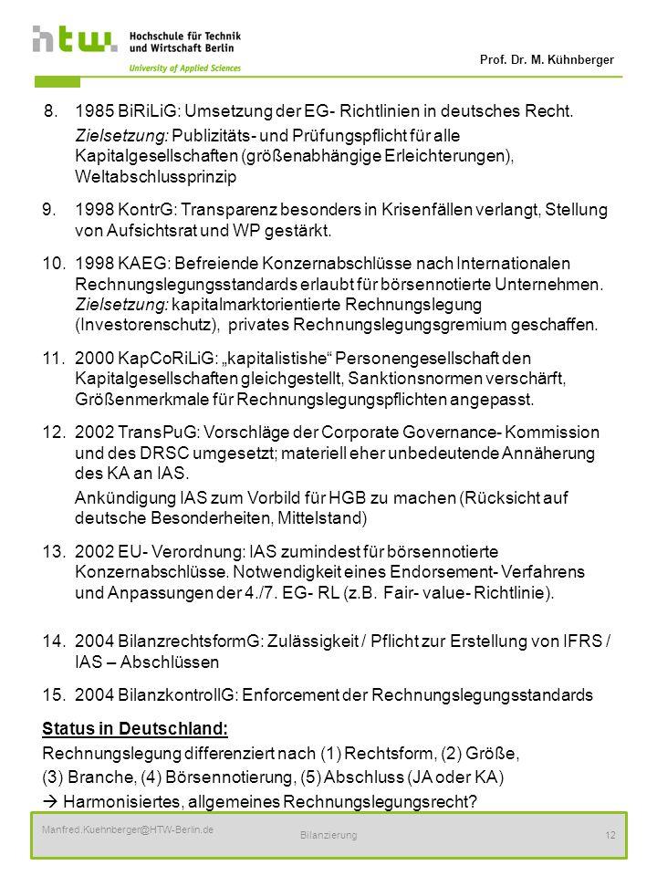 Prof. Dr. M. Kühnberger Manfred.Kuehnberger@HTW-Berlin.de Bilanzierung12 8.1985 BiRiLiG: Umsetzung der EG- Richtlinien in deutsches Recht. Zielsetzung