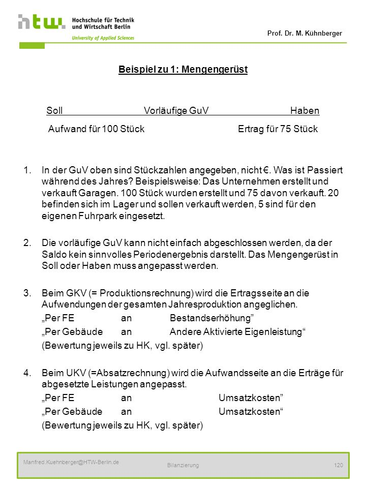 Prof. Dr. M. Kühnberger Manfred.Kuehnberger@HTW-Berlin.de Bilanzierung120 Beispiel zu 1: Mengengerüst SollVorläufige GuVHaben Aufwand für 100 Stück Er