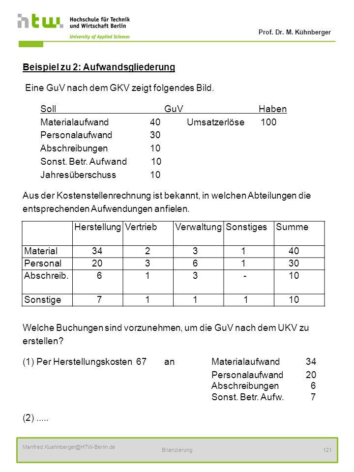 Prof. Dr. M. Kühnberger Manfred.Kuehnberger@HTW-Berlin.de Bilanzierung121 Beispiel zu 2: Aufwandsgliederung Eine GuV nach dem GKV zeigt folgendes Bild