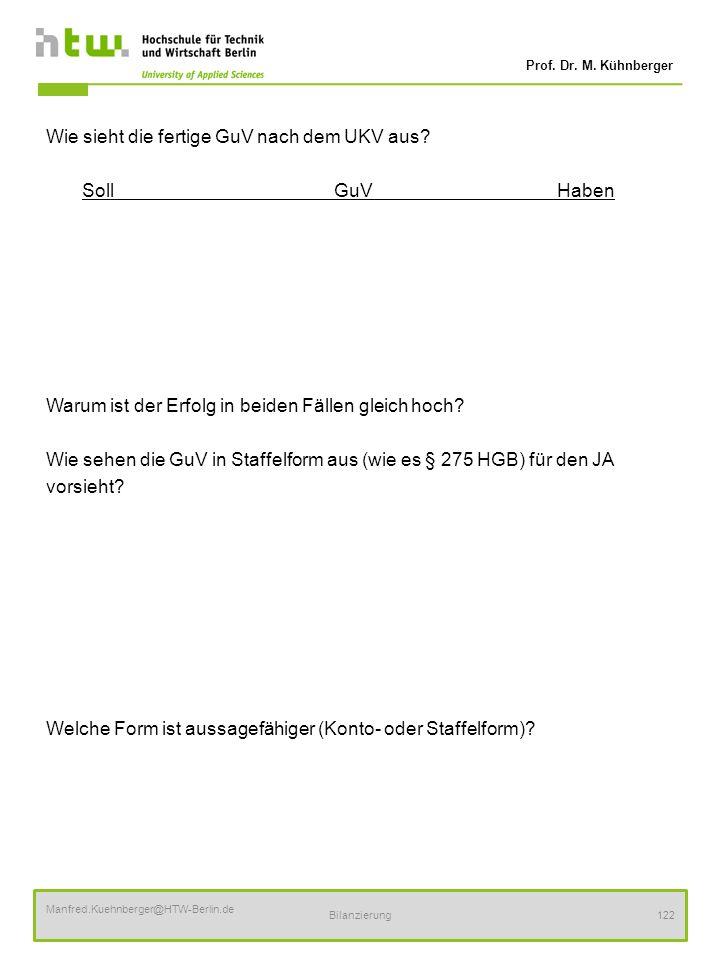 Prof. Dr. M. Kühnberger Manfred.Kuehnberger@HTW-Berlin.de Bilanzierung122 Wie sieht die fertige GuV nach dem UKV aus? SollGuV Haben Warum ist der Erfo