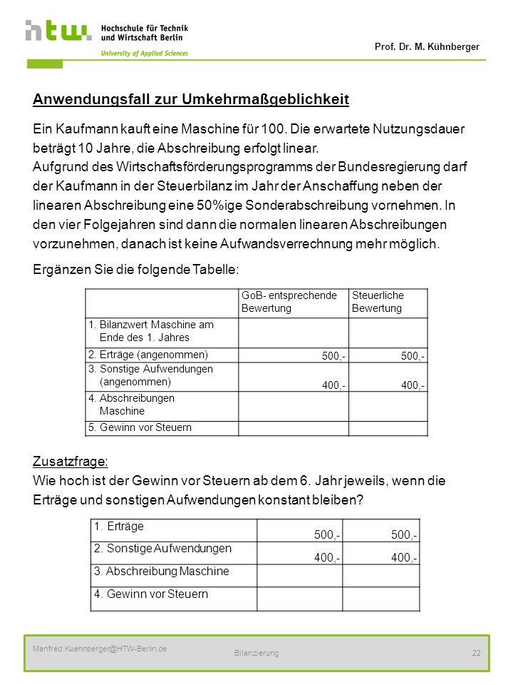 Prof. Dr. M. Kühnberger Manfred.Kuehnberger@HTW-Berlin.de Bilanzierung22 Anwendungsfall zur Umkehrmaßgeblichkeit Ein Kaufmann kauft eine Maschine für