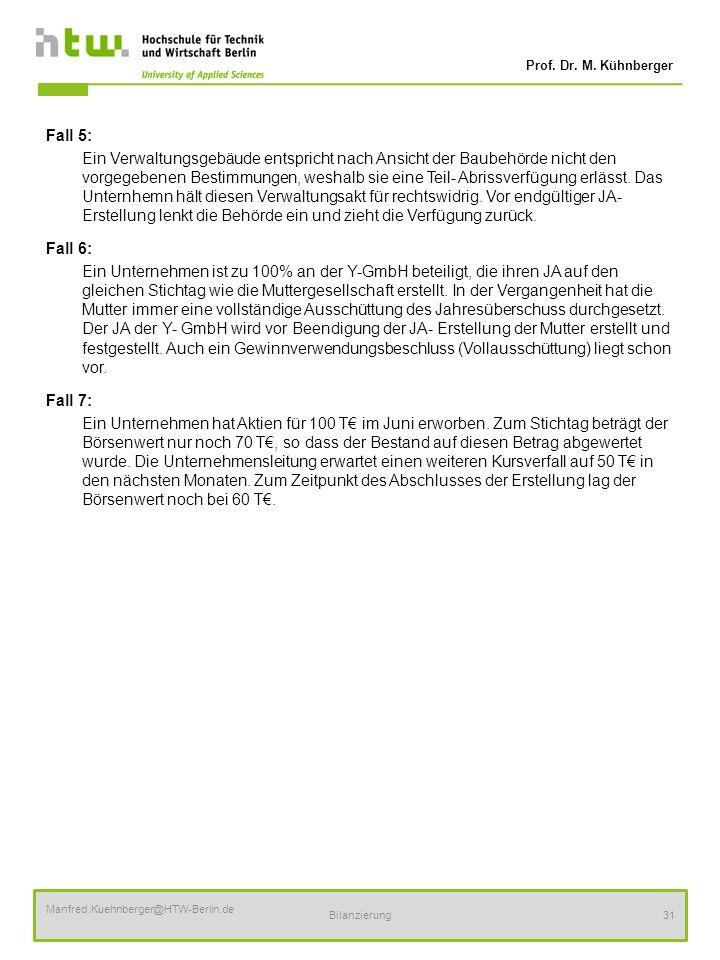 Prof. Dr. M. Kühnberger Manfred.Kuehnberger@HTW-Berlin.de Bilanzierung31 Fall 5: Ein Verwaltungsgebäude entspricht nach Ansicht der Baubehörde nicht d