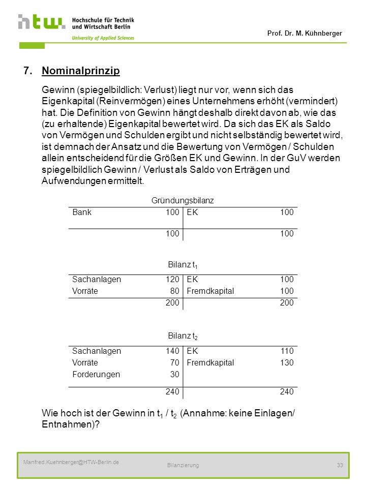 Prof. Dr. M. Kühnberger Manfred.Kuehnberger@HTW-Berlin.de Bilanzierung33 7.Nominalprinzip Gewinn (spiegelbildlich: Verlust) liegt nur vor, wenn sich d