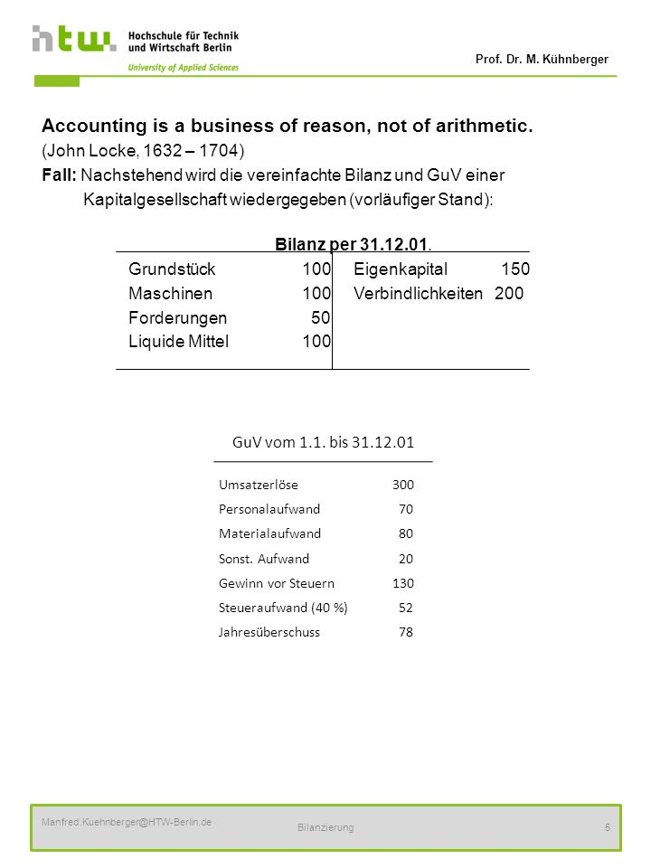 Prof. Dr. M. Kühnberger Manfred.Kuehnberger@HTW-Berlin.de Bilanzierung5 Accounting is a business of reason, not of arithmetic. (John Locke, 1632 – 170