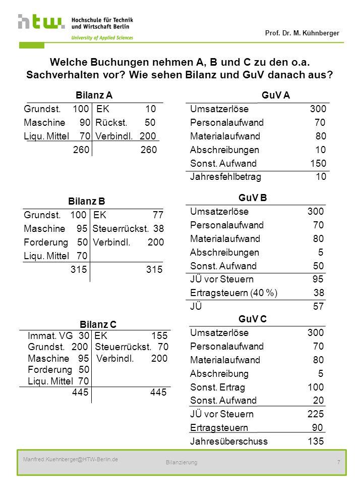 Prof. Dr. M. Kühnberger Manfred.Kuehnberger@HTW-Berlin.de Bilanzierung7 Welche Buchungen nehmen A, B und C zu den o.a. Sachverhalten vor? Wie sehen Bi
