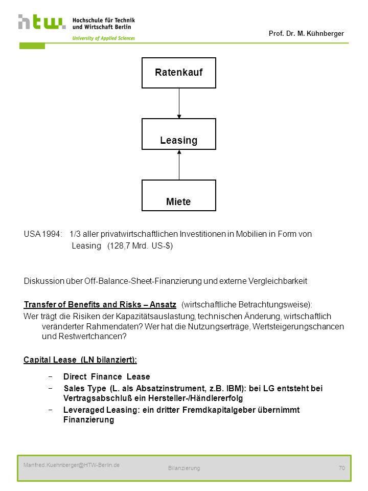 Prof. Dr. M. Kühnberger Manfred.Kuehnberger@HTW-Berlin.de Bilanzierung70 USA 1994: 1/3 aller privatwirtschaftlichen Investitionen in Mobilien in Form