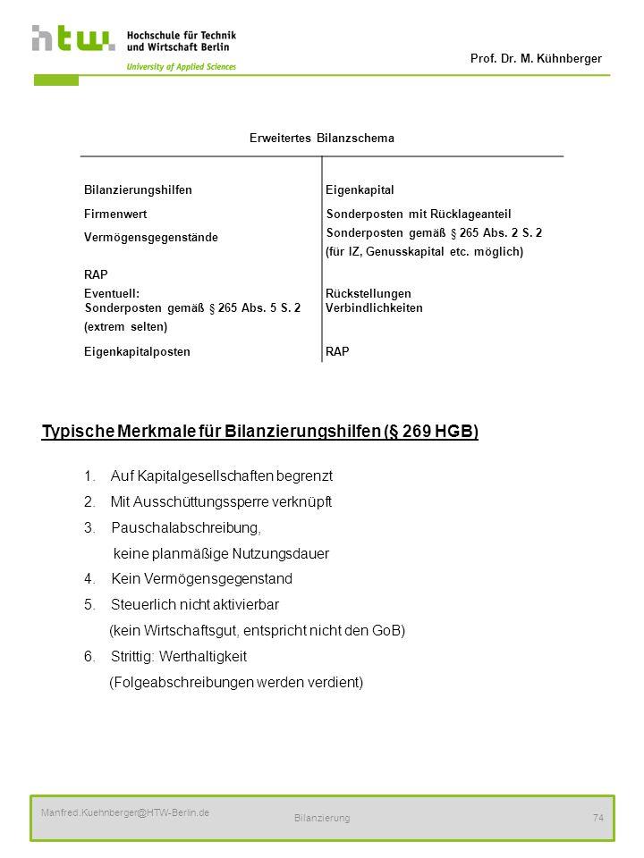 Prof. Dr. M. Kühnberger Manfred.Kuehnberger@HTW-Berlin.de Bilanzierung74 Typische Merkmale für Bilanzierungshilfen (§ 269 HGB) 1.Auf Kapitalgesellscha