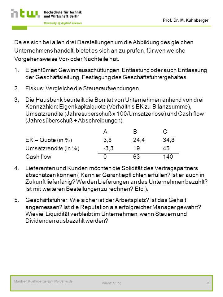 Prof. Dr. M. Kühnberger Manfred.Kuehnberger@HTW-Berlin.de Bilanzierung8 Da es sich bei allen drei Darstellungen um die Abbildung des gleichen Unterneh