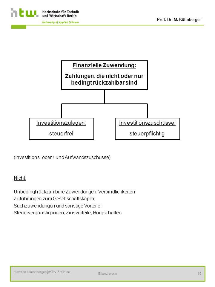 Prof. Dr. M. Kühnberger Manfred.Kuehnberger@HTW-Berlin.de Bilanzierung82 (Investitions- oder / und Aufwandszuschüsse) Nicht: Unbedingt rückzahlbare Zu