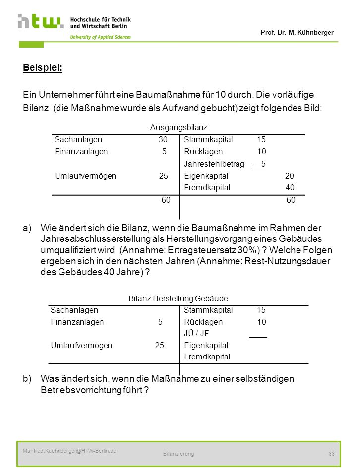 Prof. Dr. M. Kühnberger Manfred.Kuehnberger@HTW-Berlin.de Bilanzierung88 Beispiel: Ein Unternehmer führt eine Baumaßnahme für 10 durch. Die vorläufige