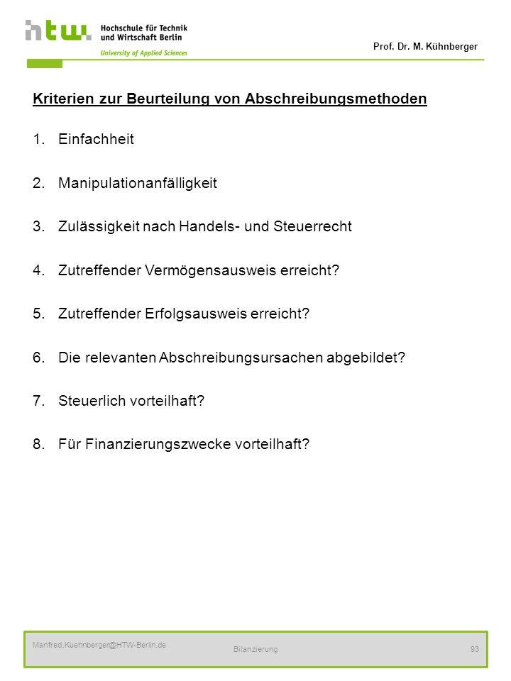 Prof. Dr. M. Kühnberger Manfred.Kuehnberger@HTW-Berlin.de Bilanzierung93 Kriterien zur Beurteilung von Abschreibungsmethoden 1.Einfachheit 2.Manipulat