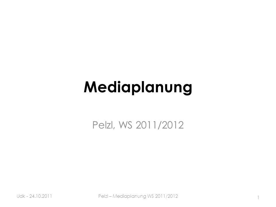 Mediaplanung Pelzl, WS 2011/2012 Udk - 24.10.2011 1 Pelzl – Mediaplanung WS 2011/2012