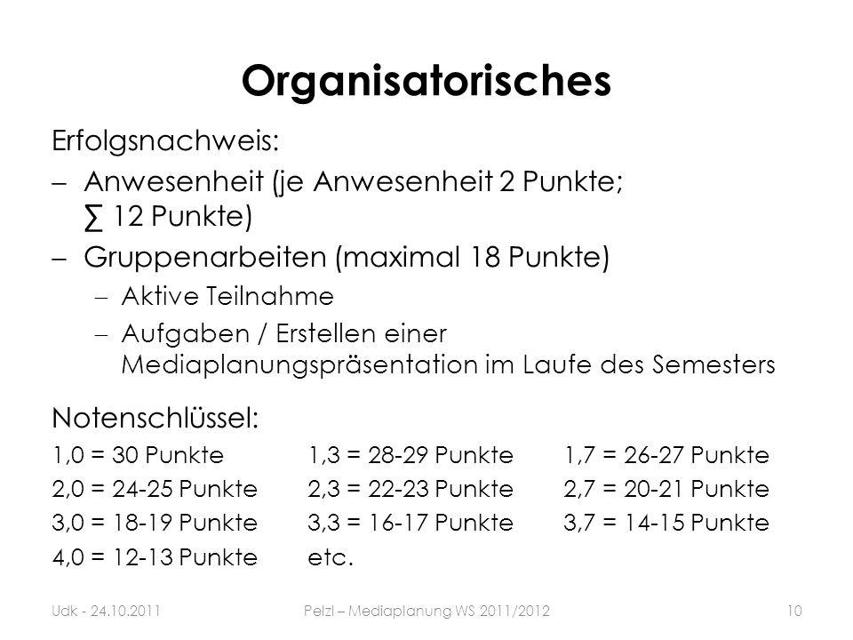 Organisatorisches Erfolgsnachweis: Anwesenheit (je Anwesenheit 2 Punkte; 12 Punkte) Gruppenarbeiten (maximal 18 Punkte) Aktive Teilnahme Aufgaben / Er