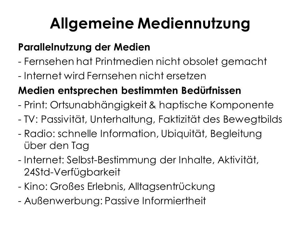 Allgemeine Mediennutzung Parallelnutzung der Medien -Fernsehen hat Printmedien nicht obsolet gemacht -Internet wird Fernsehen nicht ersetzen Medien en