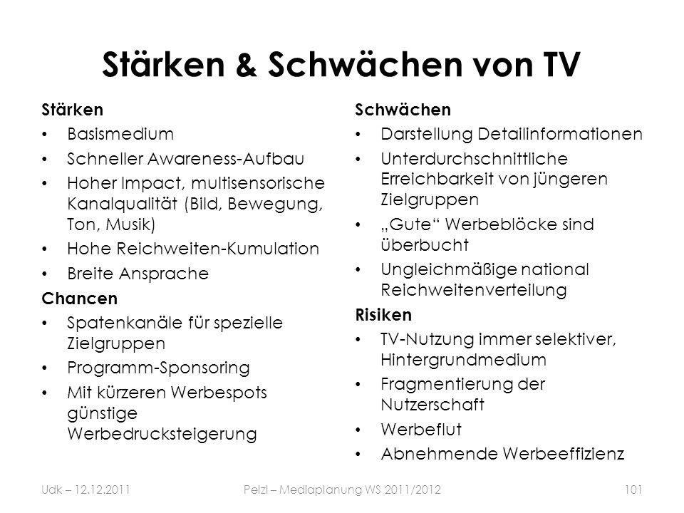 Stärken & Schwächen von TV Stärken Basismedium Schneller Awareness-Aufbau Hoher Impact, multisensorische Kanalqualität (Bild, Bewegung, Ton, Musik) Ho
