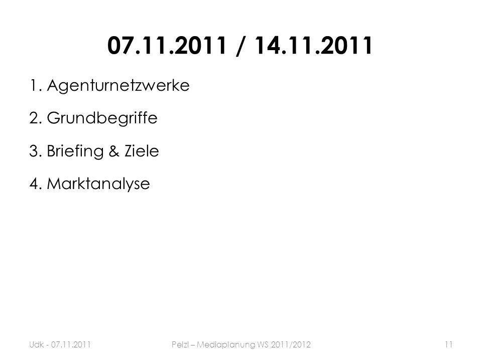 07.11.2011 / 14.11.2011 1. Agenturnetzwerke 2. Grundbegriffe 3. Briefing & Ziele 4. Marktanalyse 11Udk - 07.11.2011Pelzl – Mediaplanung WS 2011/2012