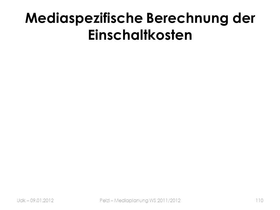 Mediaspezifische Berechnung der Einschaltkosten Udk – 09.01.2012Pelzl – Mediaplanung WS 2011/2012110