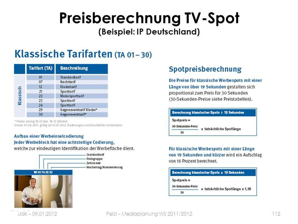 Preisberechnung TV-Spot (Beispiel: IP Deutschland) Udk – 09.01.2012Pelzl – Mediaplanung WS 2011/2012112