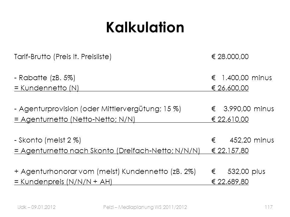 Kalkulation Tarif-Brutto (Preis lt. Preisliste) 28.000,00 - Rabatte (zB. 5%) 1.400,00 minus = Kundennetto (N) 26.600,00 - Agenturprovision (oder Mittl