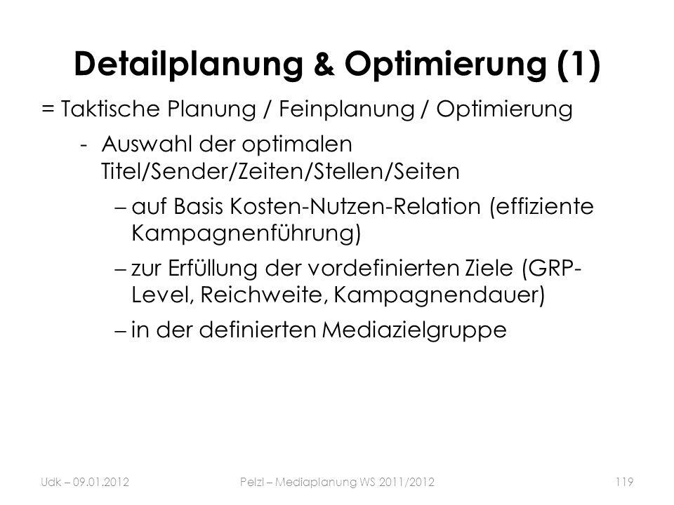 Detailplanung & Optimierung (1) = Taktische Planung / Feinplanung / Optimierung -Auswahl der optimalen Titel/Sender/Zeiten/Stellen/Seiten auf Basis Ko