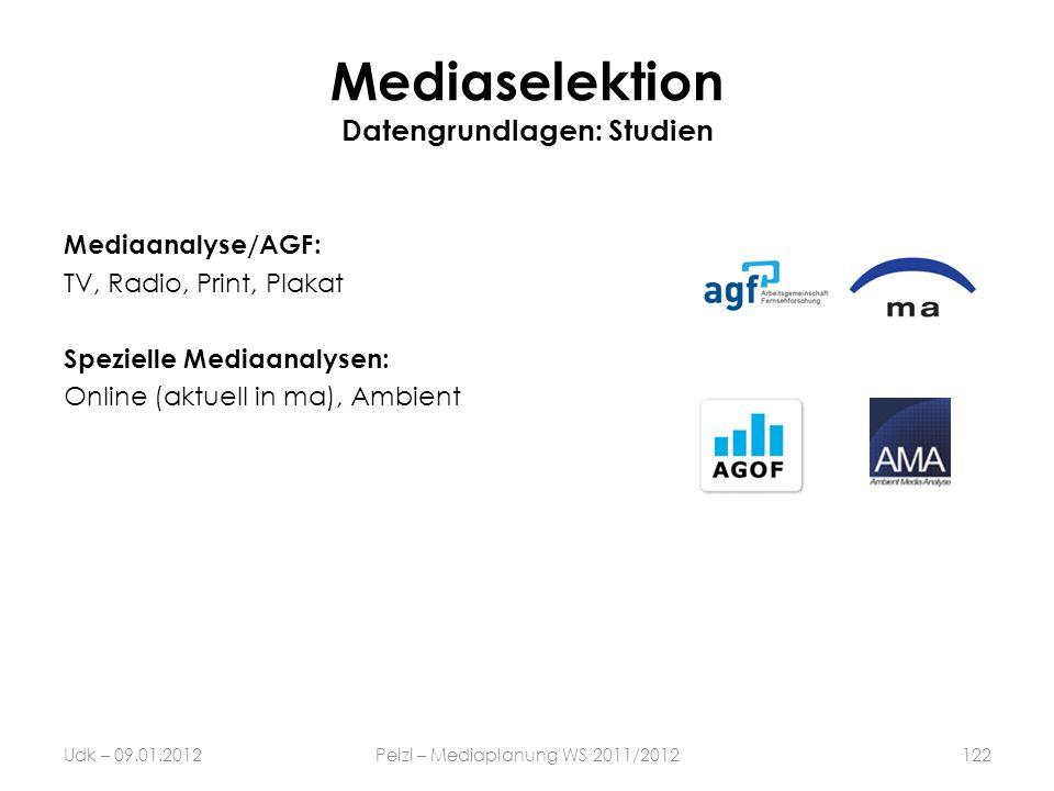 Mediaselektion Datengrundlagen: Studien Mediaanalyse/AGF: TV, Radio, Print, Plakat Spezielle Mediaanalysen: Online (aktuell in ma), Ambient Udk – 09.0