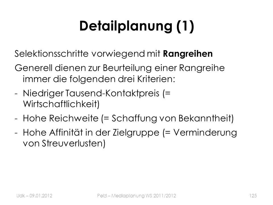 Detailplanung (1) Selektionsschritte vorwiegend mit Rangreihen Generell dienen zur Beurteilung einer Rangreihe immer die folgenden drei Kriterien: -Ni