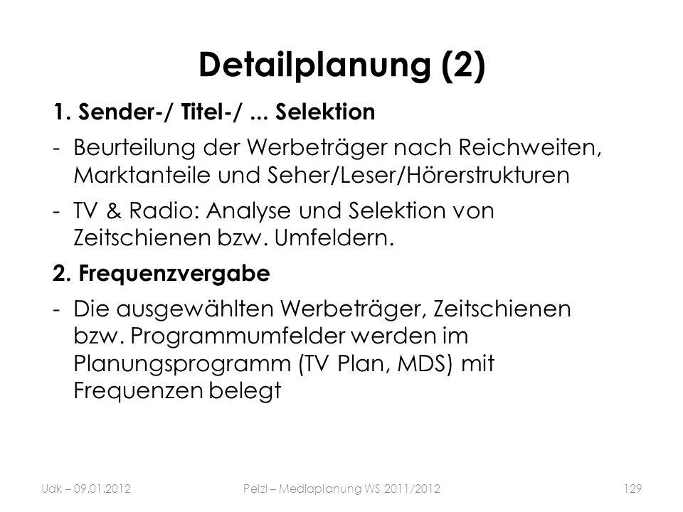 Detailplanung (2) 1. Sender-/ Titel-/... Selektion -Beurteilung der Werbeträger nach Reichweiten, Marktanteile und Seher/Leser/Hörerstrukturen -TV & R