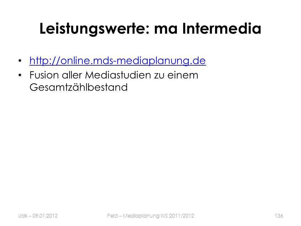 Leistungswerte: ma Intermedia http://online.mds-mediaplanung.de Fusion aller Mediastudien zu einem Gesamtzählbestand Udk – 09.01.2012Pelzl – Mediaplan
