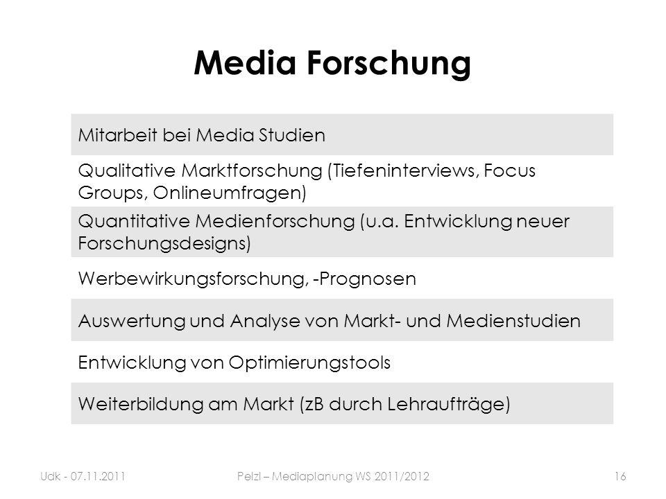 Media Forschung Mitarbeit bei Media Studien Qualitative Marktforschung (Tiefeninterviews, Focus Groups, Onlineumfragen) Quantitative Medienforschung (