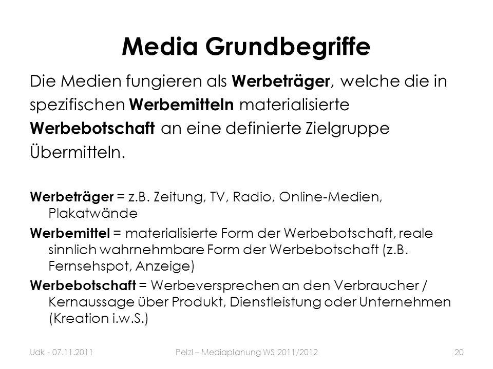 Media Grundbegriffe Die Medien fungieren als Werbeträger, welche die in spezifischen Werbemitteln materialisierte Werbebotschaft an eine definierte Zi