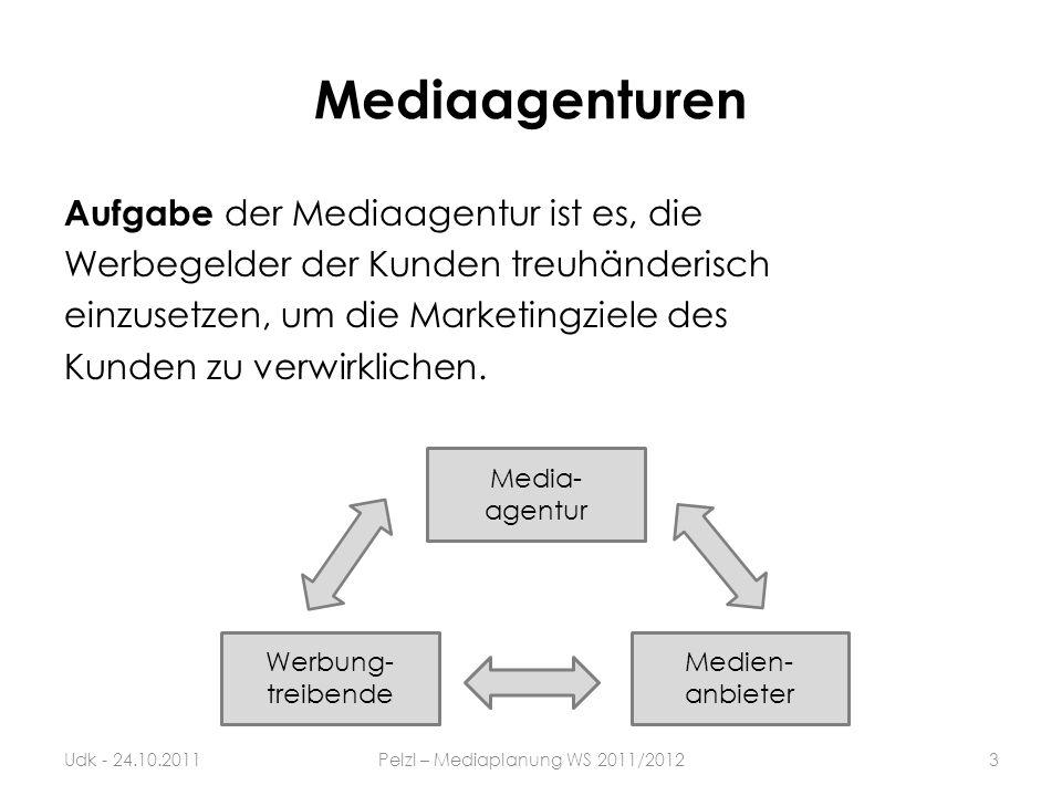 Mediaagenturen Aufgabe der Mediaagentur ist es, die Werbegelder der Kunden treuhänderisch einzusetzen, um die Marketingziele des Kunden zu verwirklich