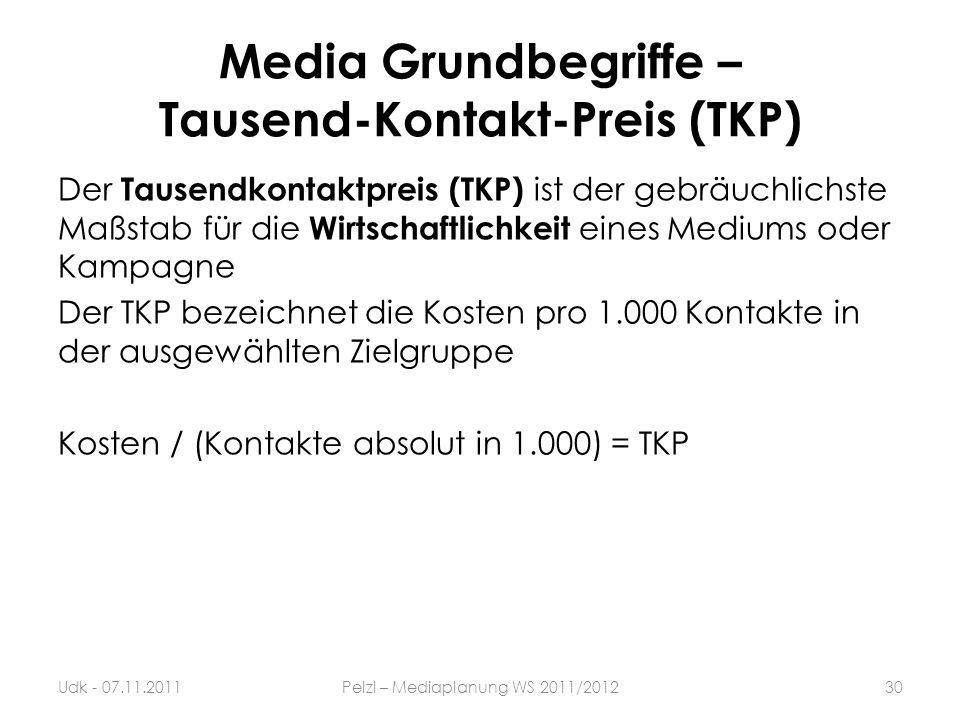 Media Grundbegriffe – Tausend-Kontakt-Preis (TKP) Der Tausendkontaktpreis (TKP) ist der gebräuchlichste Maßstab für die Wirtschaftlichkeit eines Mediu