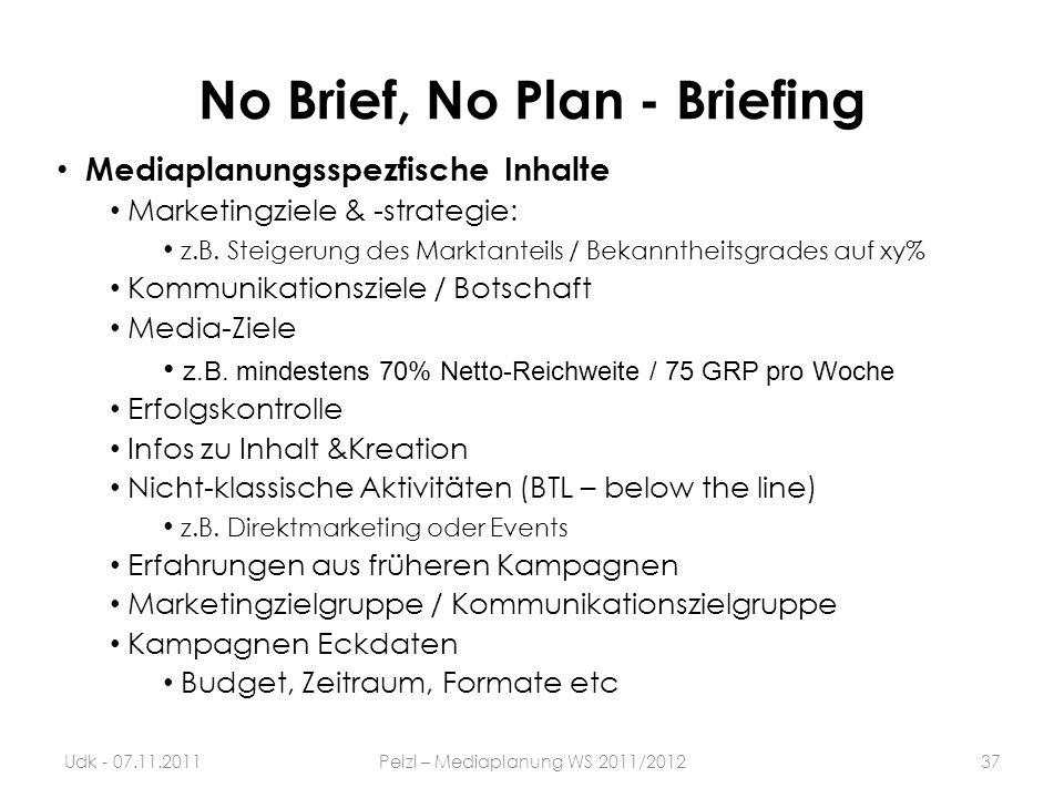 No Brief, No Plan - Briefing 37Udk - 07.11.2011Pelzl – Mediaplanung WS 2011/2012 Mediaplanungsspezfische Inhalte Marketingziele & -strategie: z.B. Ste