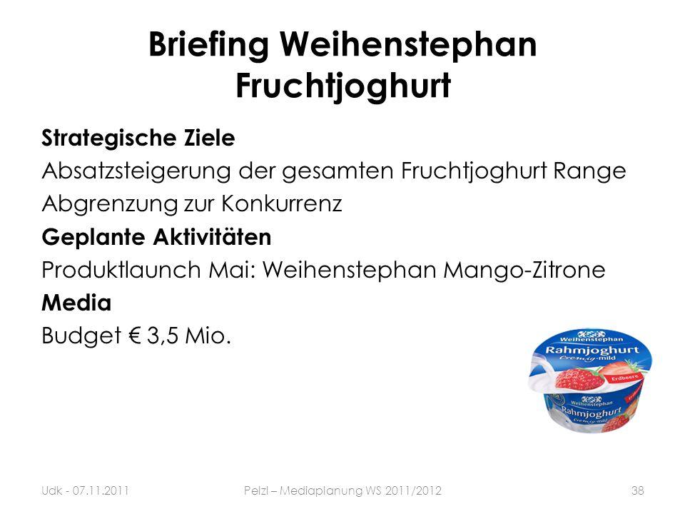 Briefing Weihenstephan Fruchtjoghurt Strategische Ziele Absatzsteigerung der gesamten Fruchtjoghurt Range Abgrenzung zur Konkurrenz Geplante Aktivität