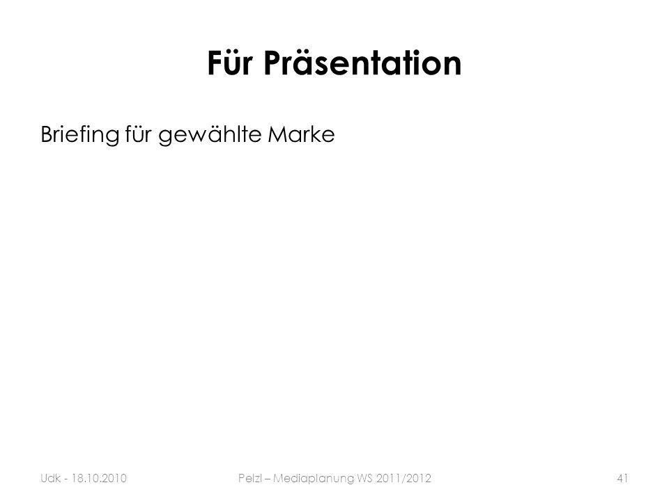 Für Präsentation Briefing für gewählte Marke Udk - 18.10.2010Pelzl – Mediaplanung WS 2011/201241