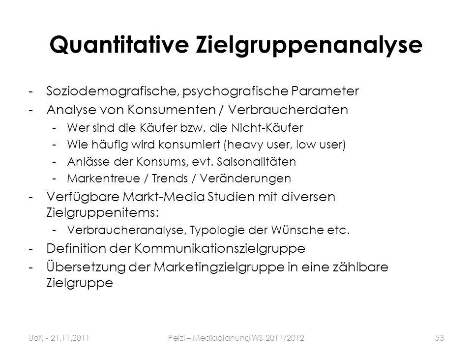 Quantitative Zielgruppenanalyse -Soziodemografische, psychografische Parameter -Analyse von Konsumenten / Verbraucherdaten -Wer sind die Käufer bzw. d