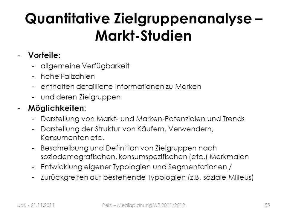 Quantitative Zielgruppenanalyse – Markt-Studien - Vorteile : -allgemeine Verfügbarkeit -hohe Fallzahlen -enthalten detaillierte Informationen zu Marke