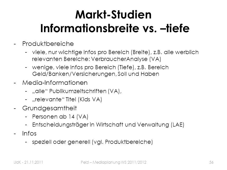 Markt-Studien Informationsbreite vs. –tiefe -Produktbereiche -viele, nur wichtige Infos pro Bereich (Breite), z.B. alle werblich relevanten Bereiche: