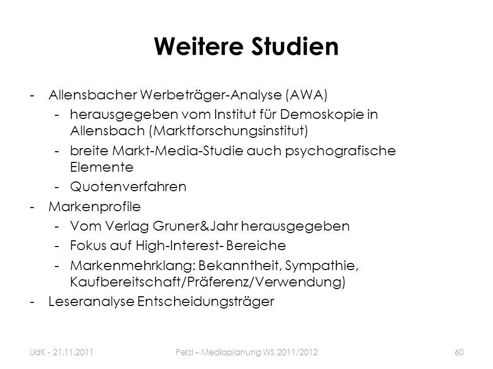 Weitere Studien -Allensbacher Werbeträger-Analyse (AWA) -herausgegeben vom Institut für Demoskopie in Allensbach (Marktforschungsinstitut) -breite Mar