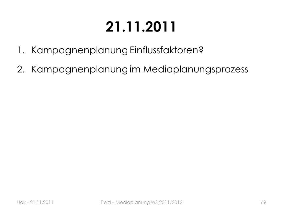 21.11.2011 1.Kampagnenplanung Einflussfaktoren? 2.Kampagnenplanung im Mediaplanungsprozess 69Udk - 21.11.2011Pelzl – Mediaplanung WS 2011/2012