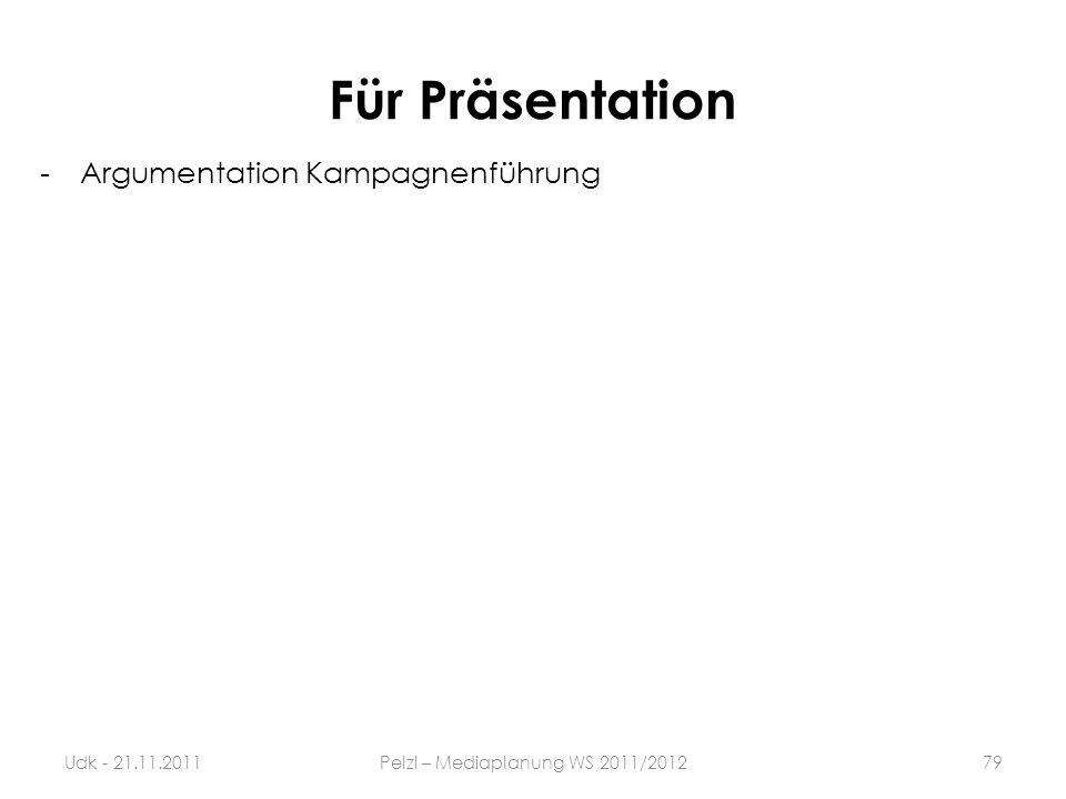 Für Präsentation -Argumentation Kampagnenführung 79Udk - 21.11.2011Pelzl – Mediaplanung WS 2011/2012