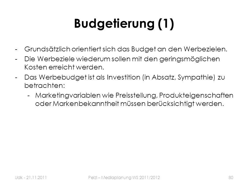 Budgetierung (1) -Grundsätzlich orientiert sich das Budget an den Werbezielen. -Die Werbeziele wiederum sollen mit den geringsmöglichen Kosten erreich