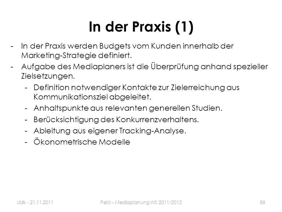 In der Praxis (1) -In der Praxis werden Budgets vom Kunden innerhalb der Marketing-Strategie definiert. -Aufgabe des Mediaplaners ist die Überprüfung