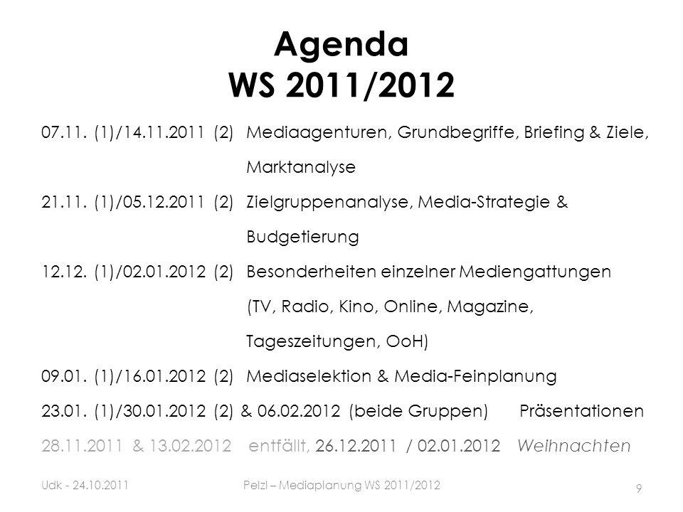 Agenda WS 2011/2012 07.11. (1)/14.11.2011 (2)Mediaagenturen, Grundbegriffe, Briefing & Ziele, Marktanalyse 21.11. (1)/05.12.2011 (2)Zielgruppenanalyse