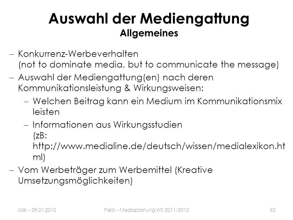 Auswahl der Mediengattung Allgemeines Konkurrenz-Werbeverhalten (not to dominate media, but to communicate the message) Auswahl der Mediengattung(en)