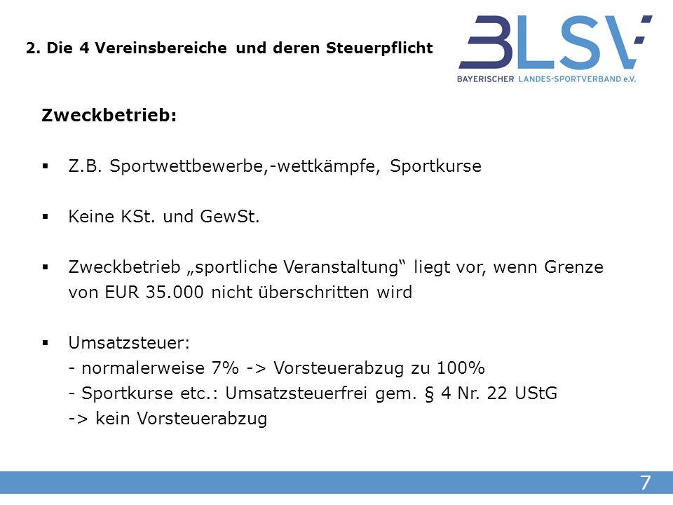 7 Zweckbetrieb: Z.B. Sportwettbewerbe,-wettkämpfe, Sportkurse Keine KSt. und GewSt. Zweckbetrieb sportliche Veranstaltung liegt vor, wenn Grenze von E