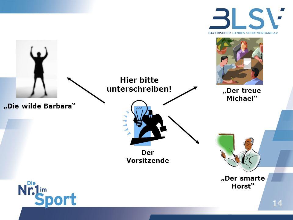 14 Der Vorsitzende Die wilde Barbara Der treue Michael Der smarte Horst Hier bitte unterschreiben!